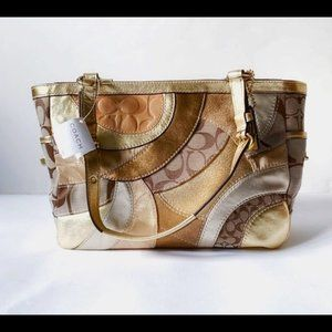 NEW Coach Gold Metallic Mosaic Patchwork Handbag